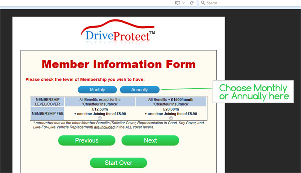 DriveProtect Monthly or Annually